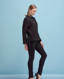 OPEN SHOULDERS QUILTED SHORT SWEATSHIRT