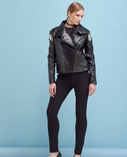 OPEN SLEEVES PADDED LEATHER JACKET